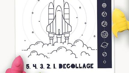 Coloriage : décollage fusée et système solaire