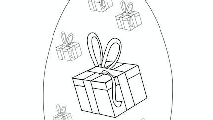 Coloriage des cadeaux dans un œuf de Pâques