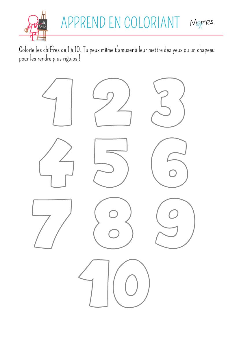 Coloriage des chiffres   MOMES.net
