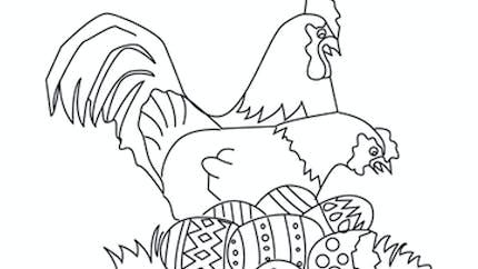 Coloriage des poules de Pâques