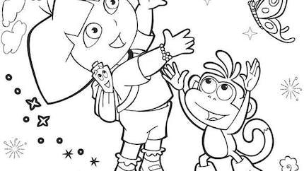Coloriage Dora l'exploratrice et les papillons