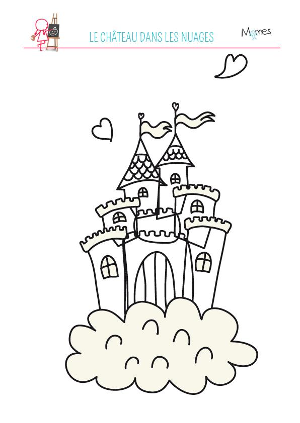 Coloriage Du Chateau Dans Les Nuages Momes Net