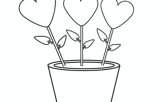 Coloriage fête des grands-mères : un bouquet de coeurs