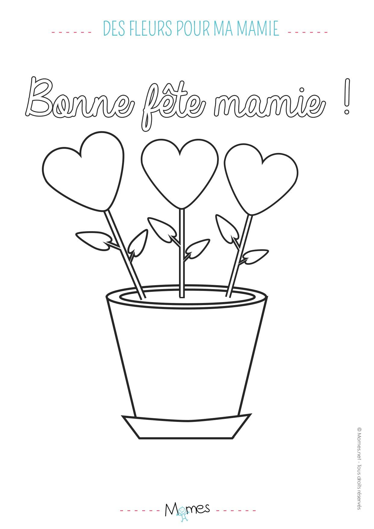 Coloriage Fete Des Grands Meres Un Bouquet De Coeurs Momes Net
