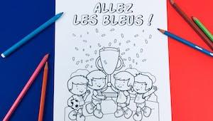 Coloriage Football : Allez les bleus !