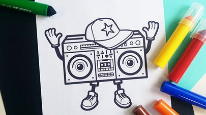 coloriage boombox
