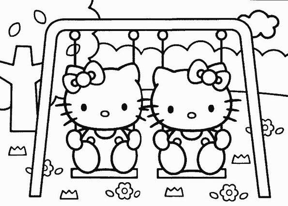 Coloriage Hello Kitty Au Parc Momes Net