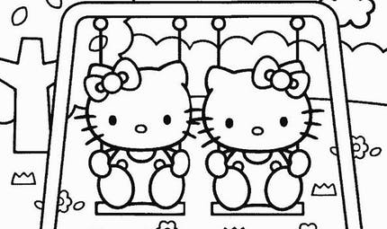 Coloriage Hello Kitty au parc