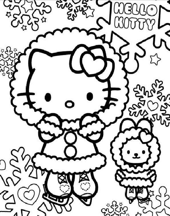 Coloriage : Hello Kitty fait du patin à glace | MOMES.net