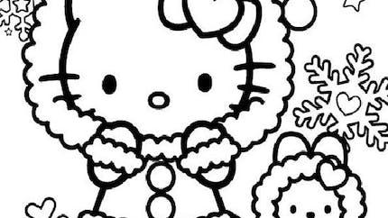 Coloriage : Hello Kitty fait du patin à glace