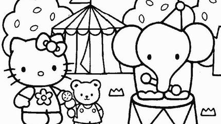 Coloriage Hello Kitty au cirque