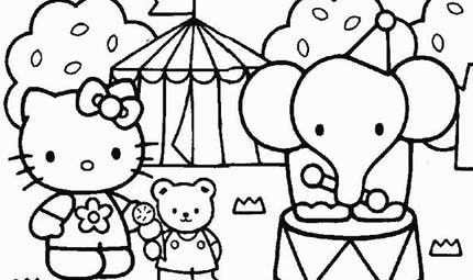 Coloriage Hello Kitty au cirque