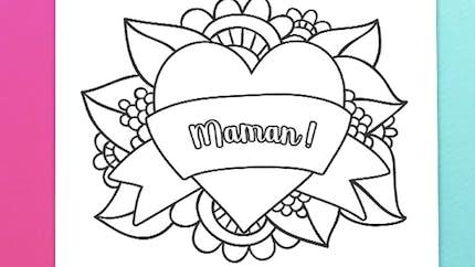 Coloriage joli coeur pour Maman
