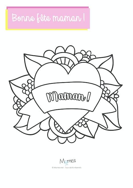 Coloriage Joli Coeur Pour Maman Momes Net