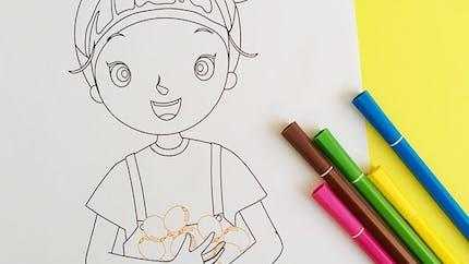 Coloriage : Julie et les kiwis