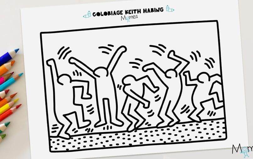 coloriage keith haring à imprimer