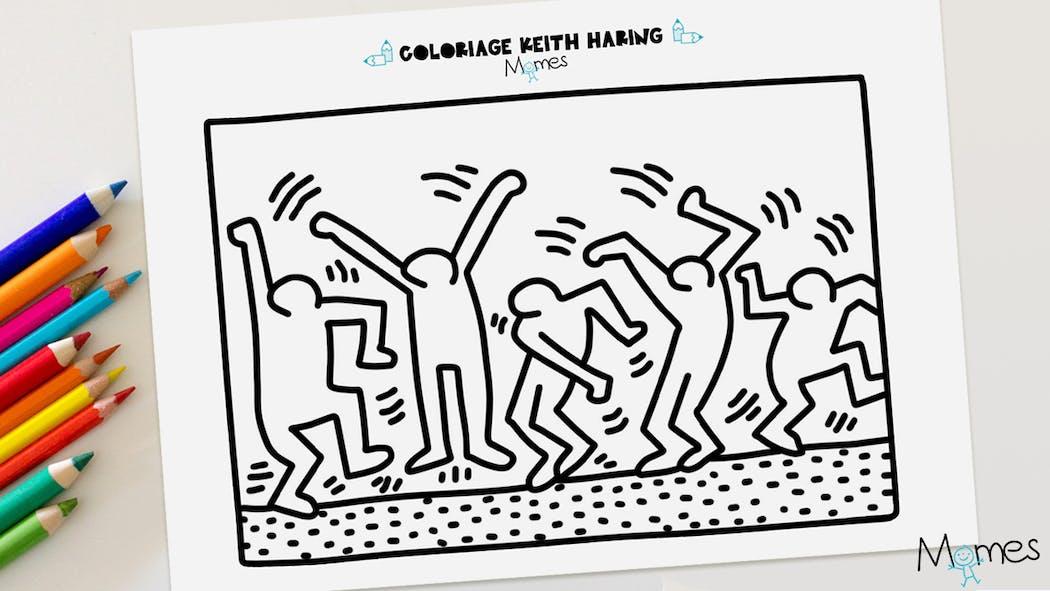 Coloriage Keith Haring : les danseurs