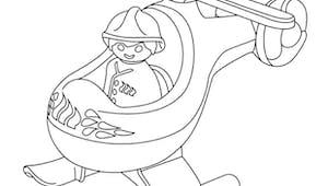 Coloriage L'hélico des pompiers Playmobil 123