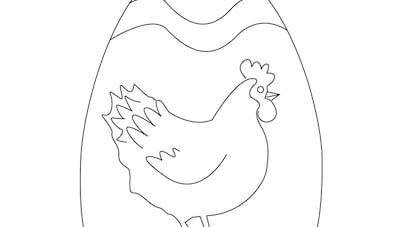 Coloriage d'une poule dans un œuf de Pâques