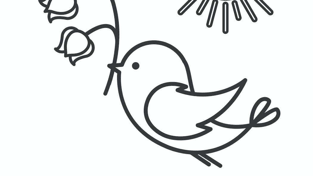 Coloriage L'oiseau et le muguet