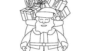 Coloriage La père Noël et hotte