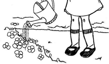 Coloriage la petite fille et l'arrosoir