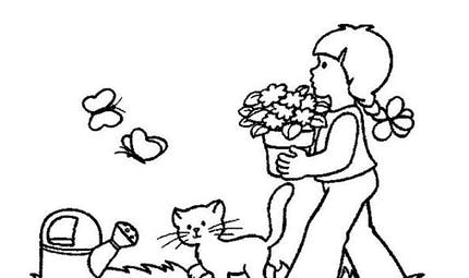 Coloriage la petite fille et le chat