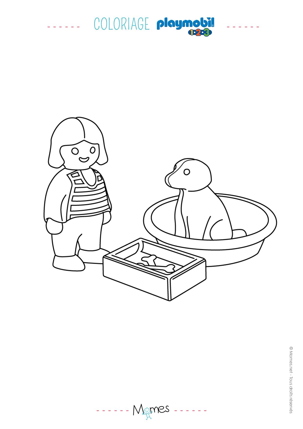 Coloriage La petite fille et son chien Playmobil 8  MOMES.net