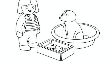 Coloriage La petite fille et son chien Playmobil 123