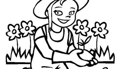 Coloriage la petite jardinière