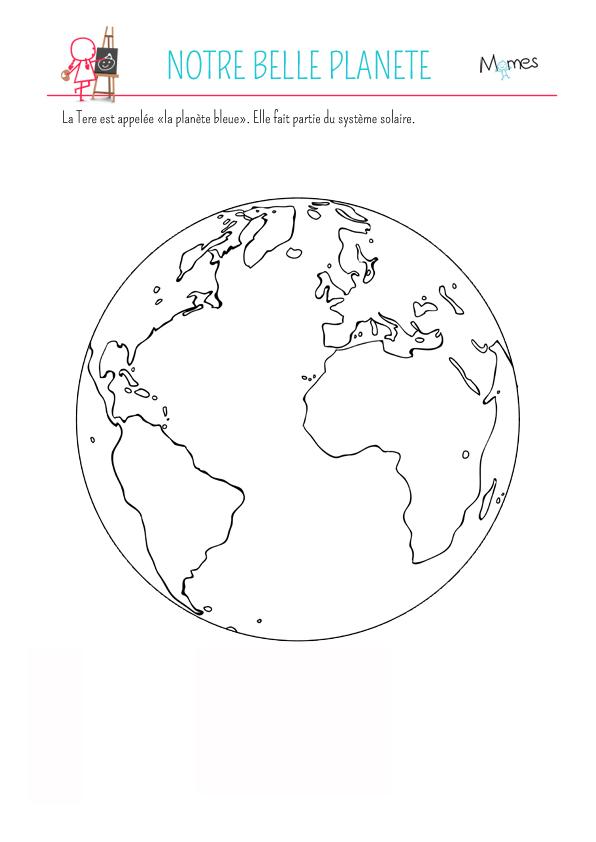 Coloriage La planète Terre | MOMES.net