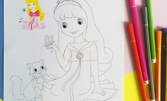 Coloriage la princesse et le petit chat (avec modèle)