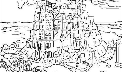 Coloriage La tour de Babel, les pieds dans l'eau