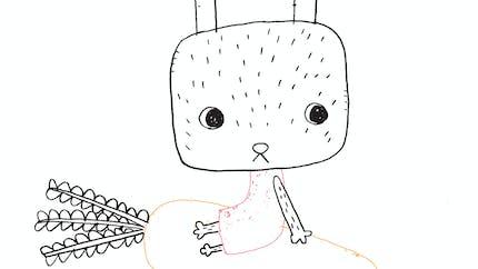 Coloriage lapin rêveur