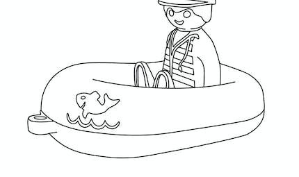 Coloriage Le bateau et son capitaine Playmobil 123