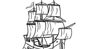 Coloriage le bateau pirates