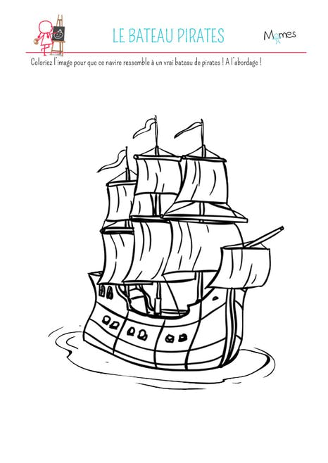 Coloriage le bateau pirates | MOMES.net