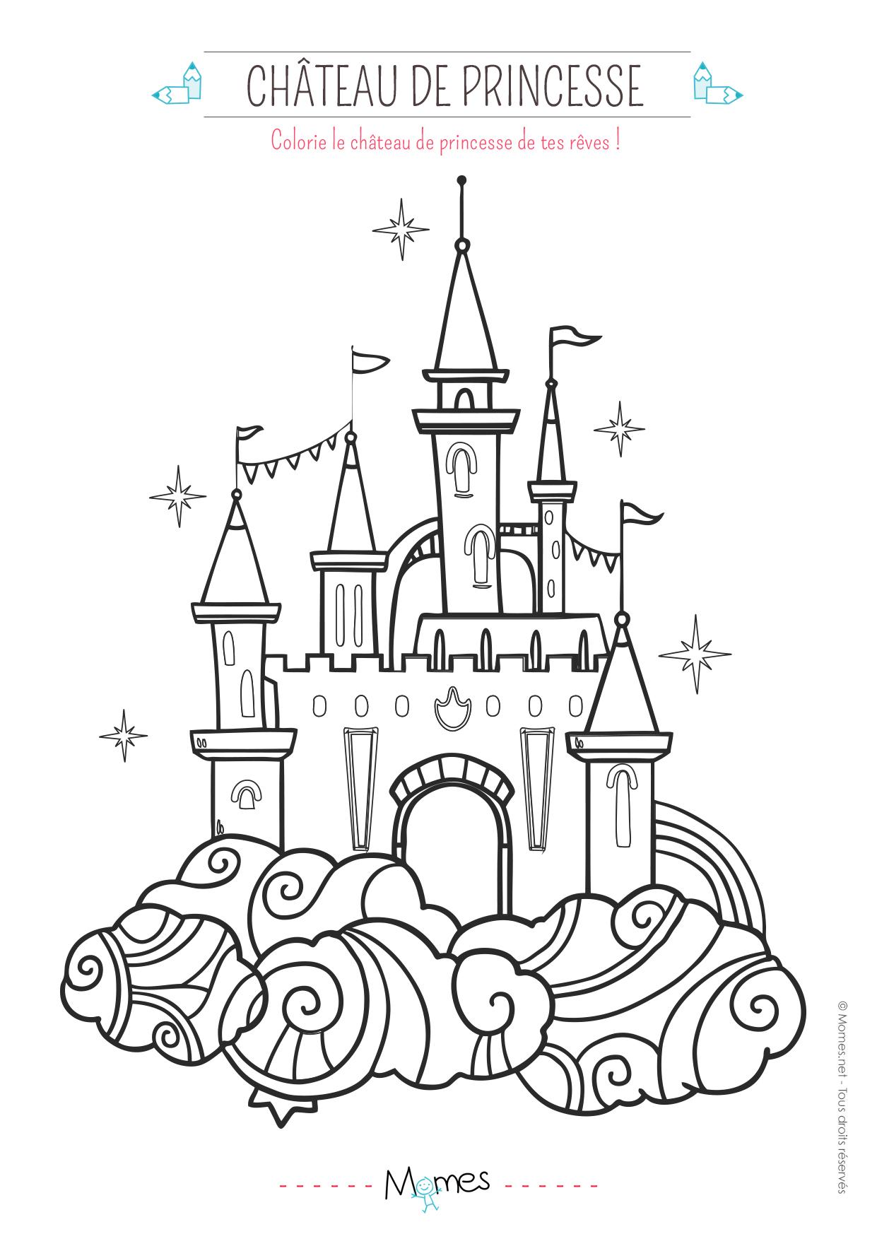 Coloriage le château de princesse   MOMES.net
