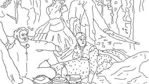 Coloriage le déjeuner sur l'herbe d'après Claude Monet