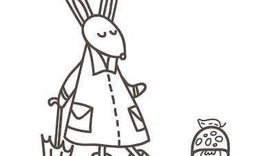 Coloriage du petit lapin et son ciré