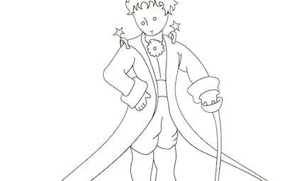 Coloriage le Petit Prince: le Petit Prince en costume
