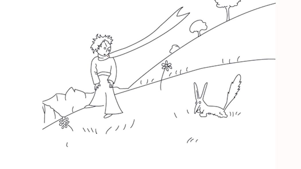 Coloriage le Petit Prince: le Petit Prince et le Renard