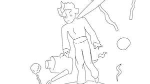 Coloriage le Petit Prince: le Petit Prince et sa Rose