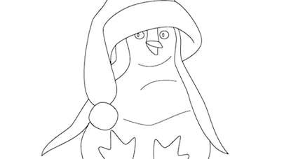 Coloriage Le pingouin de Noël