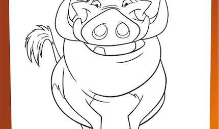 Coloriage Le Roi Lion : Pumbaa