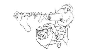 Coloriage Les deux lutins du Père Noël
