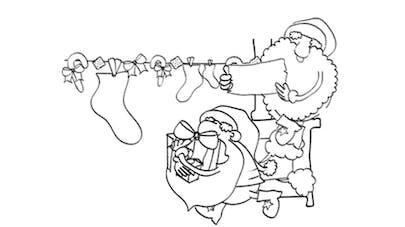 Coloriage lutins du Père Noël