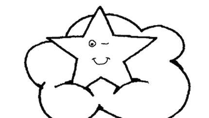 Coloriage l'étoile dans les nuages