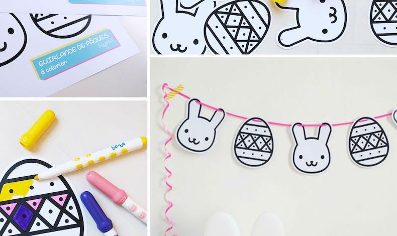 Coloriage : les lapins de Pâques