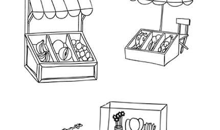 Coloriage les petites marchandes